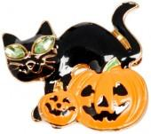 Black & Goldtone Cat & Pumpkin Brooch