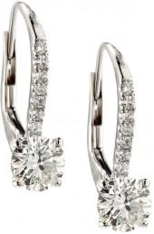 Diana M. Jewels 18k White Gold Diamond Drop Earrings, 1.37tcw