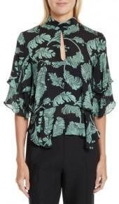 Women's Cinq A Sept Ileana Palm Print Silk Top