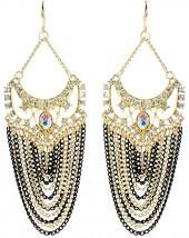 Austrian Crystal & Black Elizabeth Street Drop Earrings
