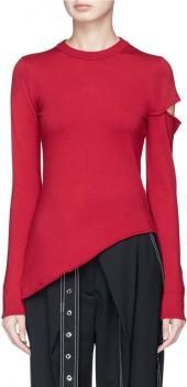 Proenza Schouler Cutout sleeve asymmetric Merino wool blend sweater
