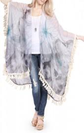Riah Fashion Butterfly Print Tassel Cardigan