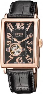 Gevril Avenue of Americas Intravedre Automatic Black Dial Watch with Leather Strap, Rose Tone