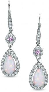 Pear-Shaped Lab-Created Opal and Pink and White Sapphire Drop Earrings in Sterling Silver