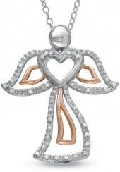 1/8 CT. T.W. Diamond Angel Heart Pendant in Sterling Silver and 10K Rose Gold