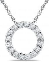 1/5 CT. T.W. Diamond Circle Pendant in 10K White Gold