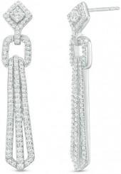 1 CT. T.W. Diamond Geometric Drop Earrings in 10K White Gold