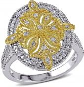 Diamond Accent Vintage-Style Oval Ring in Sterling Silver and Yellow Rhodium