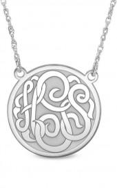 Personalized Monogram Disc Necklace in 10K White Gold (3 Initials)