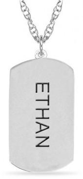 Engraved Name Dog Tag Pendant in 10K Gold (1 Line)