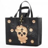 Black Leather Skull Handbag