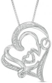 "1/10 CT. T.W. Diamond Tilted ""Love"" Heart Pendant in Sterling Silver"