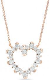 1/5 CT. T.W. Diamond Sunburst Heart Necklace in 10K Rose Gold