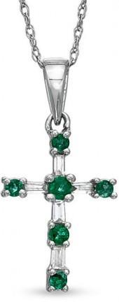 Emerald and 1/10 CT. T.W. Diamond Cross Pendant in 10K White Gold