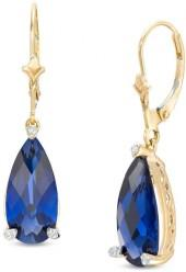 Pear-Shaped Lab-Created Blue Sapphire and Diamond Accent Drop Earrings in 10K Gold