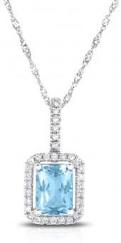 Emerald-Cut Aquamarine and 1/10 CT. T.W. Diamond Pendant in 14K White Gold