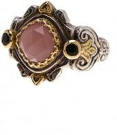KONSTANTINO Sterling Silver & 18K Gold Onyx & Faceted Agate Ring - Size 7
