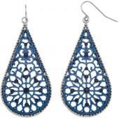Blue Filigree Nickel Free Teardrop Earrings