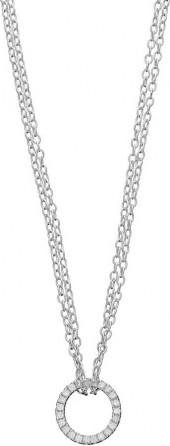 love this life Sterling Silver Cubic Zirconia Circle Necklace