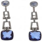 Nicky Butler 7.90ctw Violet Blue Quartz Triplet and Rainbow Moonstone Sterling Silver Drop Earrings