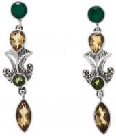 Nicky Butler 3.70ctw Green Chalcedony, Citrine and Green Topaz Sterling Silver Drop Earrings