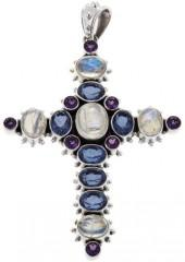 Nicky Butler 9.40ctw Rainbow Moonstone and Multigemstone Sterling Silver Cross Pendant