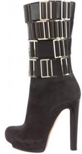 Herve Leger Suede Mid-Calf Boots