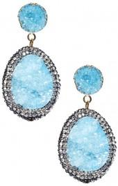Avah and Ella LA Skies Sparkling Blue Drusy Stone Drop Pendant Earrings