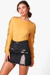 boohoo Petite Jessica Frill Long Sleeve Top