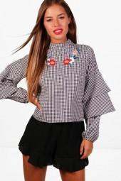 boohoo Petite Clara Gingham Tier Sleeve Embroidered Blouse