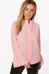 boohoo Zoe Fluted Sleeve Ruffle Collar Shirt