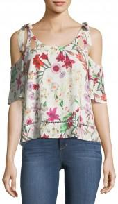 Willow & Clay Cold-Shoulder Floral-Print Blouse