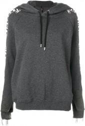 Versus zipped sleeves printed hoodie