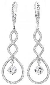 Cubic Zirconia & Sterling Silver Micro-Pavé Drop Earrings
