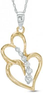 1/5 CT. T.W. Journey Diamond Interlocking Hearts Pendant in 10K Two-Tone Gold