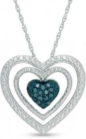 Enhanced Blue and White Diamond Accent Double Frame Heart Pendant in Sterling Silver