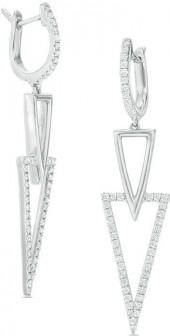 3/8 CT. T.W. Diamond Double Triangle Drop Earrings in Sterling Silver