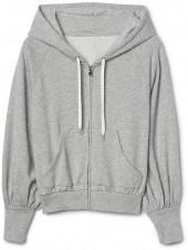 Shirred-sleeve zip hoodie