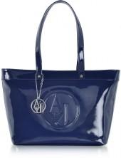 Armani Jeans Midnight Blue Eco Patent Leather Large Tote Bag