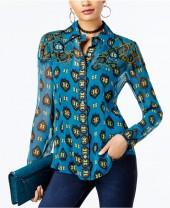 Anna Sui x Inc International Concepts Silk Printed Blouse, Created for Macy's