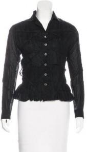 Issey Miyake Lace-Appliqué Button-Up Top