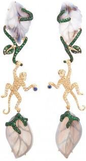 Wendy Yue Diamond opal gemstone 18k yellow gold monkey drop earrings
