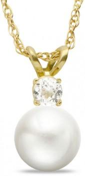 7.5 - 8.0mm Cultured Freshwater Pearl and White Topaz Pendant in 10K Gold