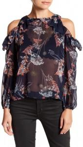 London Times Floral Ruffle Cold Shoulder Top (Petite)