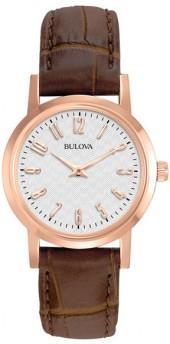 Bulova Women's Rose Brown Leather Watch