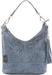 Dark Jean Swirl-Embossed Tassel Leather Hobo