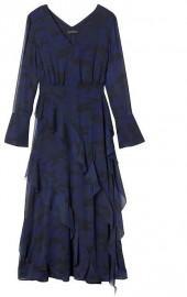 Camo-Print Bias-Ruffle Midi Dress
