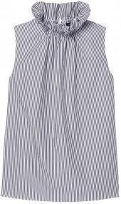 Stripe Ruffle-Neck Top