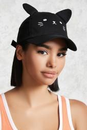 FOREVER 21 Cat Face Baseball Hat