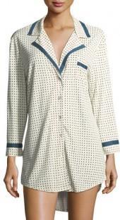 Cosabella Bella Polka-Dot Long-Sleeve Sleepshirt